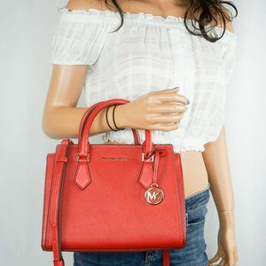 Michael Kors Hope M Messenger Leather Bag Red